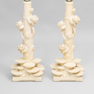 Pair of Ceramic 'Lily Pad' Lamps, Style of Serge Roche
