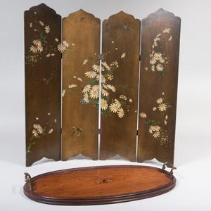 George III Style Wood Tray and Victorian Painted Four Panel Firescreen
