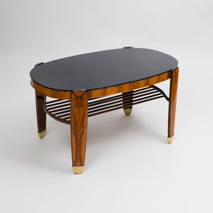 Danish Art Deco Brass-Mounted Rosewood and Glass Low Table