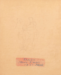 Mark Tobey (1890-1976): Two Figures (Christmas card)