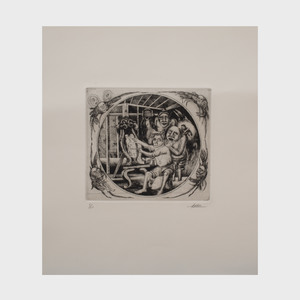 Manuel Ayaso (b. 1934): Artist with Models: Four Impressions