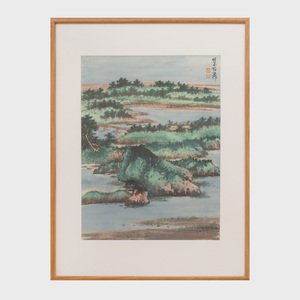Xie Zhi Liu (1910-1997):  Landscape with Mountains