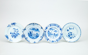 Two Dutch Blue and White Delft Plates and Two Chinese Export Blue and White Porcelain Plates