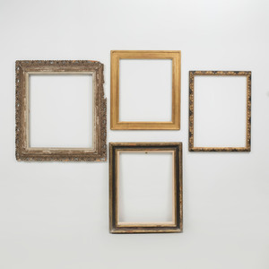 Two Baroque Style Ebonized and Parcel-Gilt Frames, a Régence Style Frame and a Giltwood Frame