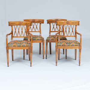 Set of Four Italian Neoclassical Style Fruitwood Chairs