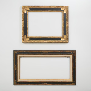 Two Baroque Style Black Painted and Parcel-Gilt Frames
