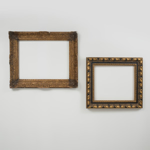 Baroque Style Ebonized and Parcel-Gilt Frame and a Régence Carved Giltwood Frame