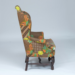 Continental Baroque Style Walnut Wing Armchair