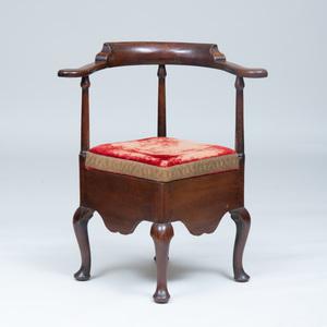 A George II Mahogany and Elm Corner Armchair