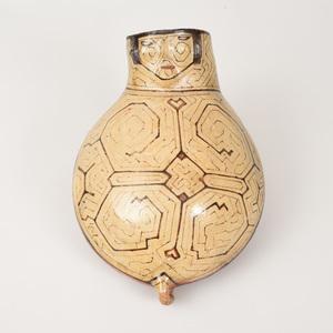 Shipibo Glazed Pottery Figural Warming Vessel