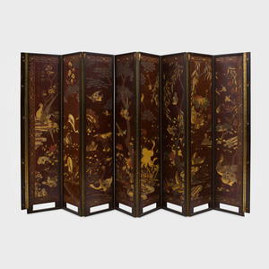 Chinese Coromandel Lacquer Eight-Panel Screen