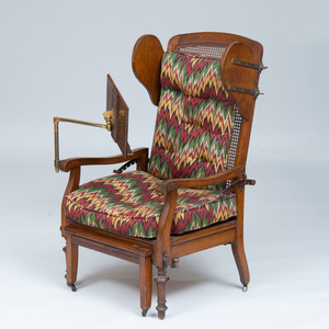 Victorian Style Stained Oak and Caned Mechanical Library Armchair