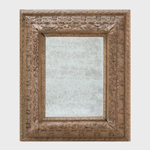 Continental Baroque Style Carved and Painted Mirror, Probably Dutch