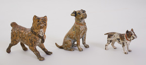 Four Austrian Cold Painted Bronze Figures of Dogs and a Figure of Pheasant