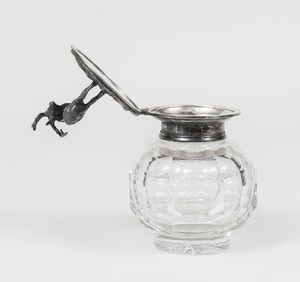Continental Cut-Glass Inkwell with Silver Plate Lid Modeled as an Elk