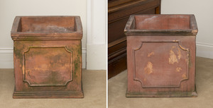 Two Regency Style Square Terracotta Planters