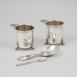 Two Georg Jensen Spoons and a Pair of Jensen Style Condiment Holders