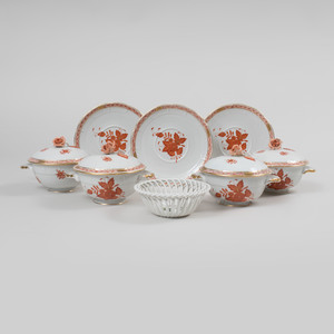Set of Eleven Herend Porcelain Broth Cups, Covers and Saucers in the Iron Red 'Chinese Bouqet' Pattern
