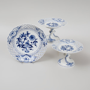 Pair of Meissen Porcelain Compotes and a Reticulated Shallow Bowl in the 'Blue Onion' Pattern