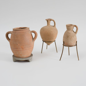 Ancient Terracotta Cinerarium and Two Ancient Pottery Small Jugs