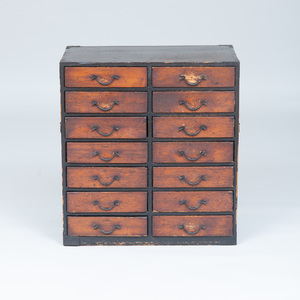 Japanese Metal-Mounted Stained Pine Tansu
