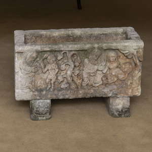 Cast Stone Planter with Figural Relief