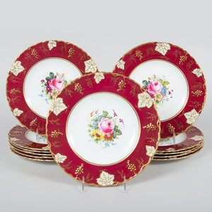 Set of Twelve Royal Crown Derby Service Plates in the 'Vine' Pattern