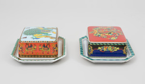 Two Versace Transfer Printed Butter Dishes, One in 'Le Roi Soleil' Pattern, the Other in 'Le Voyage de Marco Polo' Pattern, for Rosenthal
