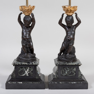Pair of Continental Ormolu-Mounted Bronze Putti Mounted as Lamps