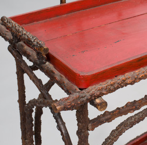 Faux Burr Root Wood Stand with Later Painted Trays