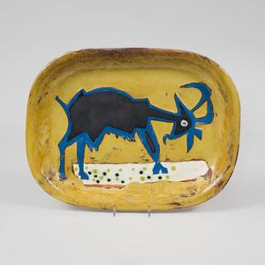 Marcel Janco Glazed Ceramic Platter