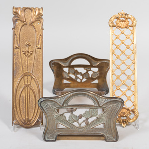 Art Nouveau Brass Bookrest and Two Gilt-Bronze Push Plates