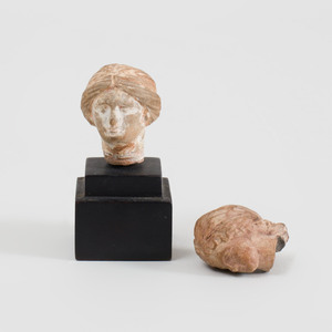 Two Boeotian Terracotta Heads of Aphrodite