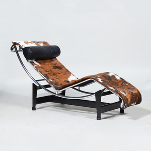 Corbusier Chrome and Cowhide 'LC4' Chaise Lounge, for Cassina
