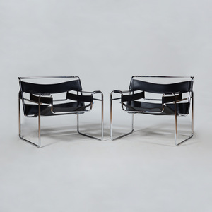 Pair of Marcel Breuer Chrome and Leather 'Wassily' Chairs