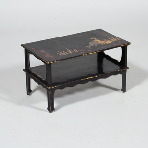 Japanese Black Lacquer and Parcel-Gilt Two Tier Low Table