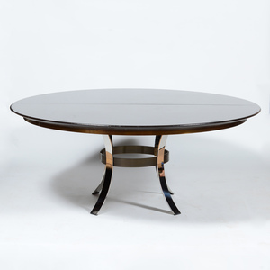 Circular Painted Linen and Chrome Extension Dining Table, in the Style of Karl Springer