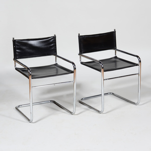 Pair of Chrome and Vinyl Cantilevered Armchairs