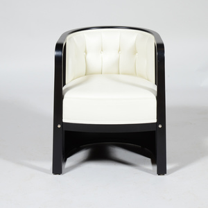 Wittman Stained Beech Leather Armchair, After Josef Hoffmann