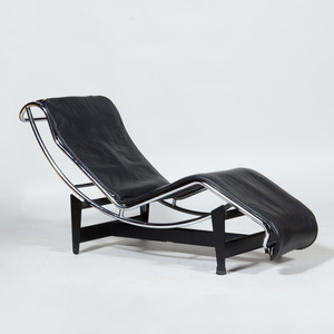 Cassina Le Corbusier Chaise Lounge and Chrome-Painted Metal and Leather Stool, for Atelier International