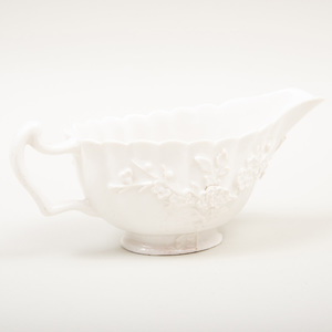 Bow White Glazed Porcelain Sauceboat with Applied Prunus Decoration