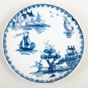 Lowestoft Blue and White Porcelain Miniature Plate