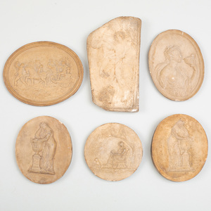 Six Plaster Molds for and Copies of Classical Reliefs