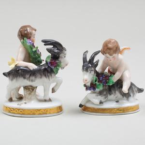 Pair of Samson Porcelain Groups of Cherubs and Goats