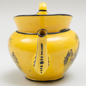 English Earthenware Transfer Printed Canary Yellow Ground Teapot and Cover