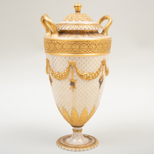 Wedgwood Gilt-Patterned Cream Ground Porcelain Two Handle Vase and Cover