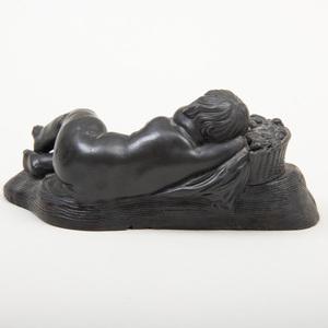 Wedgwood Black Basalt Figure of a Sleeping Boy