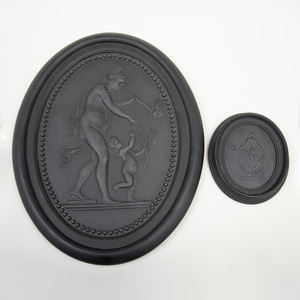 Wedgwood Black Basalt Oval Plaque of Venus and Cupid