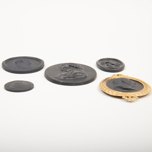Five Wedgwood Black Basalt Small Medallions