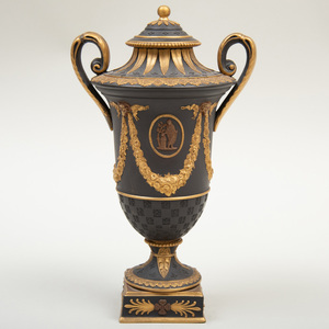 Wedgwood Black Basalt Bronze and Gilt-Decorated Vase and Cover